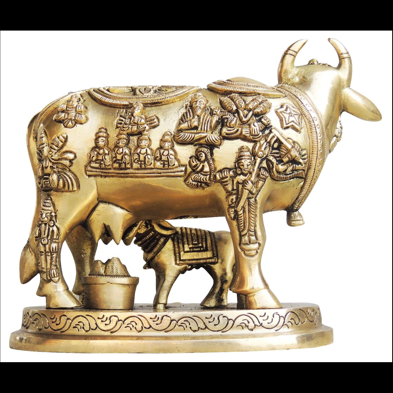 Brass Cow With Calf Gaye Bacdha 6*3.7*5.2 Inch  (BS984 B)