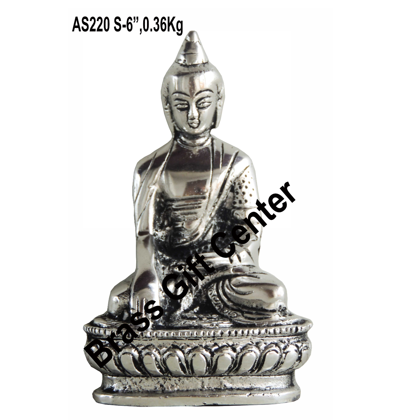 Aluminium Buddha Statue Murti Idol Silver Antique finish - 3.52.66 Inch AS220 S