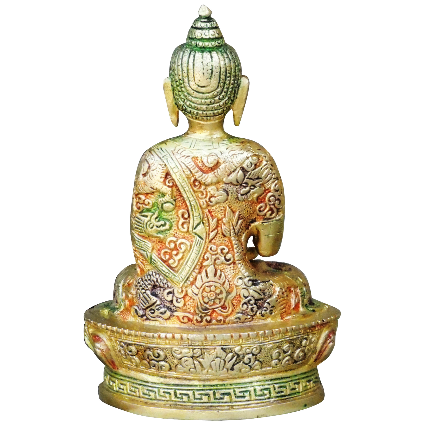 Brass Buddha Statue Murti Idol In Multicolour Lacquer Finish - 4.4x3x6.8 Inch  BS660 X