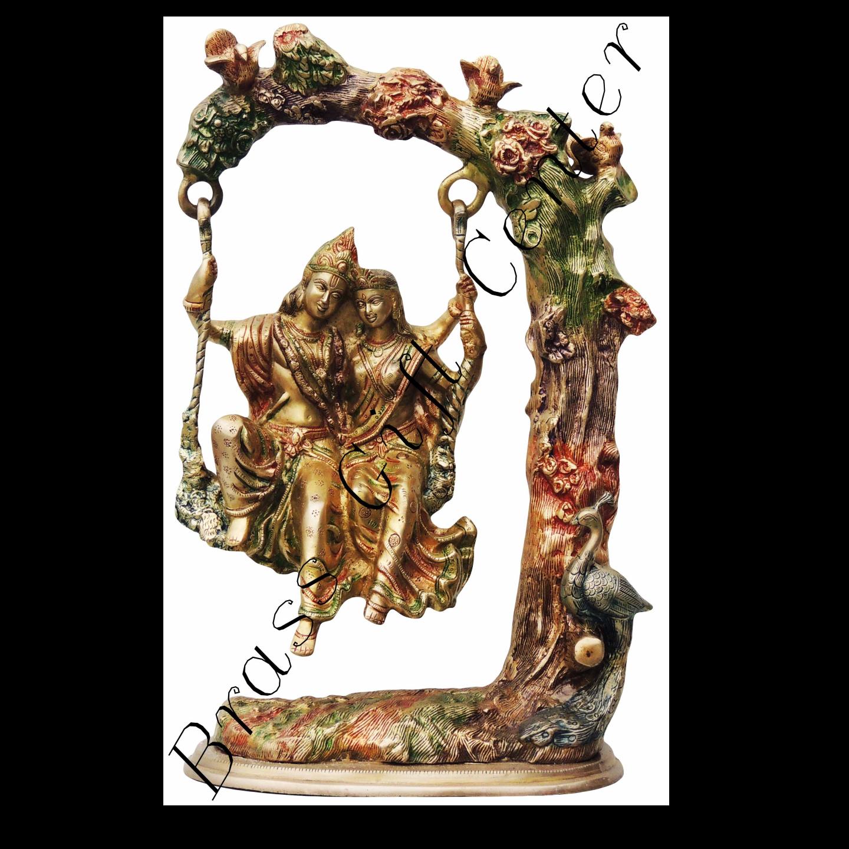 Brass Radha Krishna Jhula Staute Idol Murti in Multicolour lacquer finish- 13.57.521 Inch  BS474