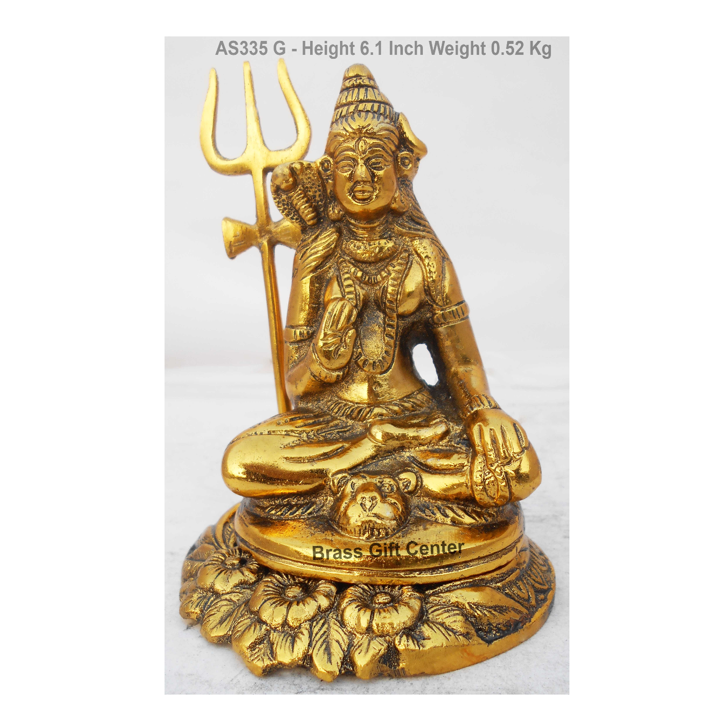 Metallic Shivji Statue Murti idol In Gold Antique Finish - 4.346.1 Inch AS335 G