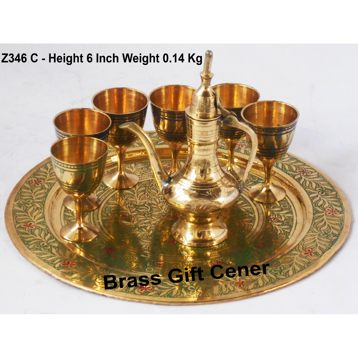 Brass Wine Set With Six Glass One Surahi MIniature Toy for Children Playing (Z346 C)
