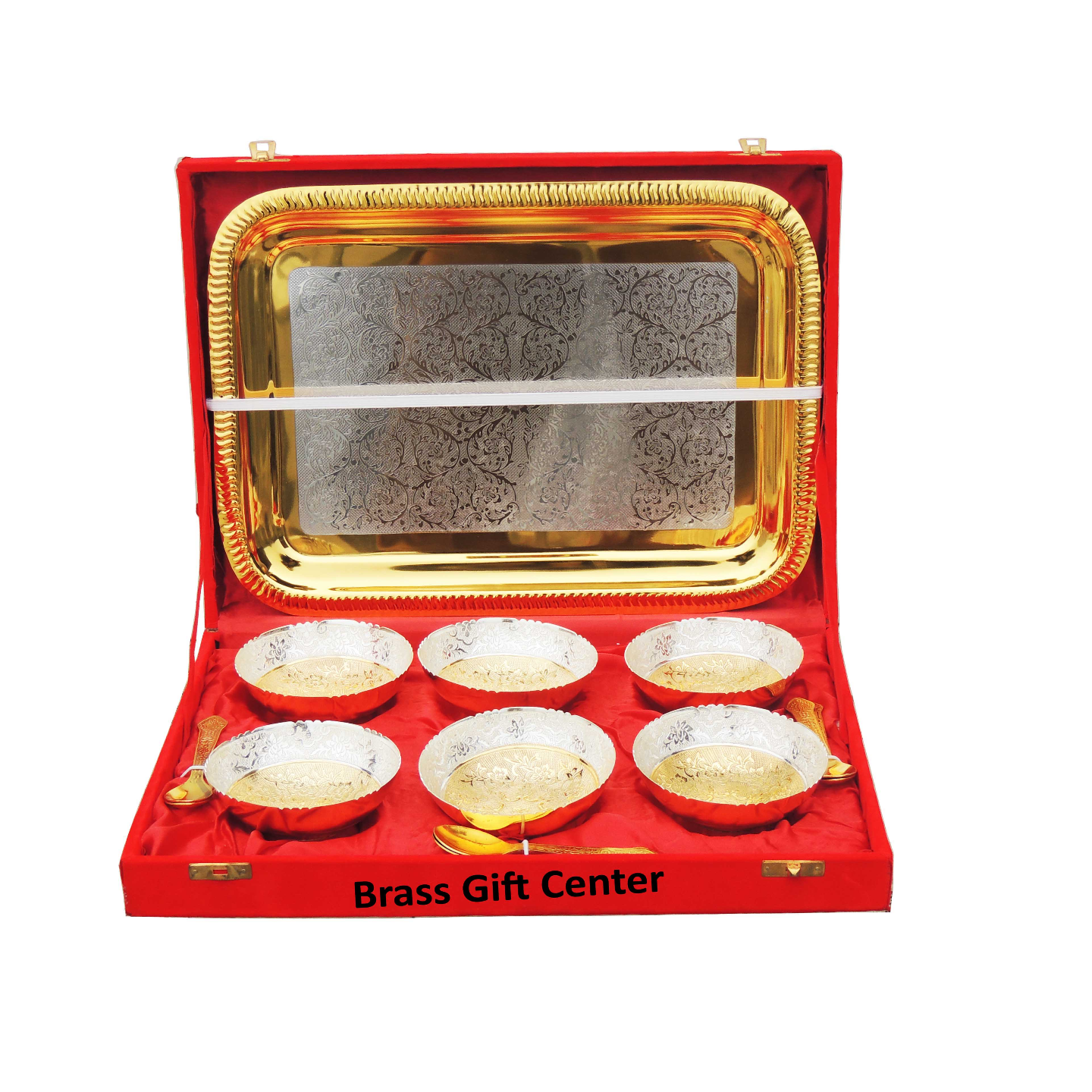 Brass 6 Bowl set with Gold and Silver Coating packed in Red Velvet Box B277 A
