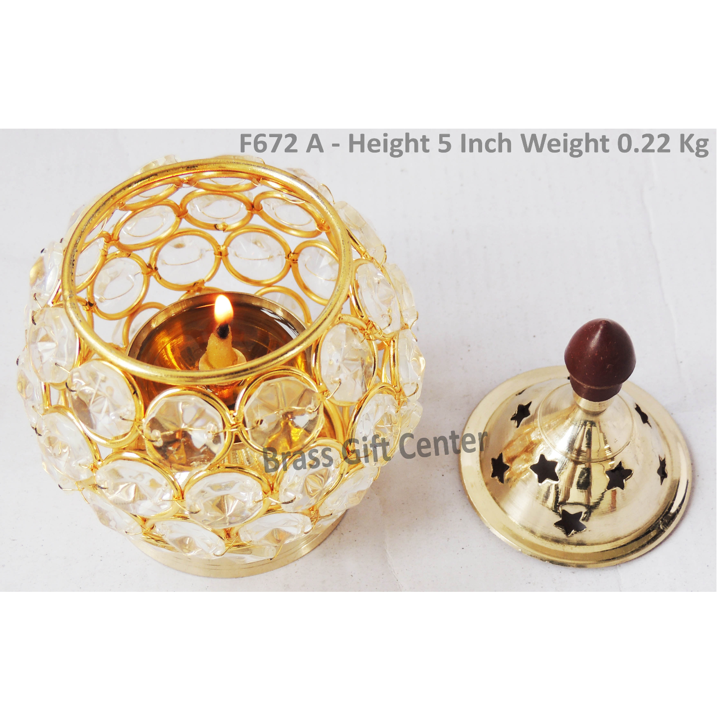 Brass Oil Lamp Deepak With Crystal Beads Height 5 Inch (F672 A)