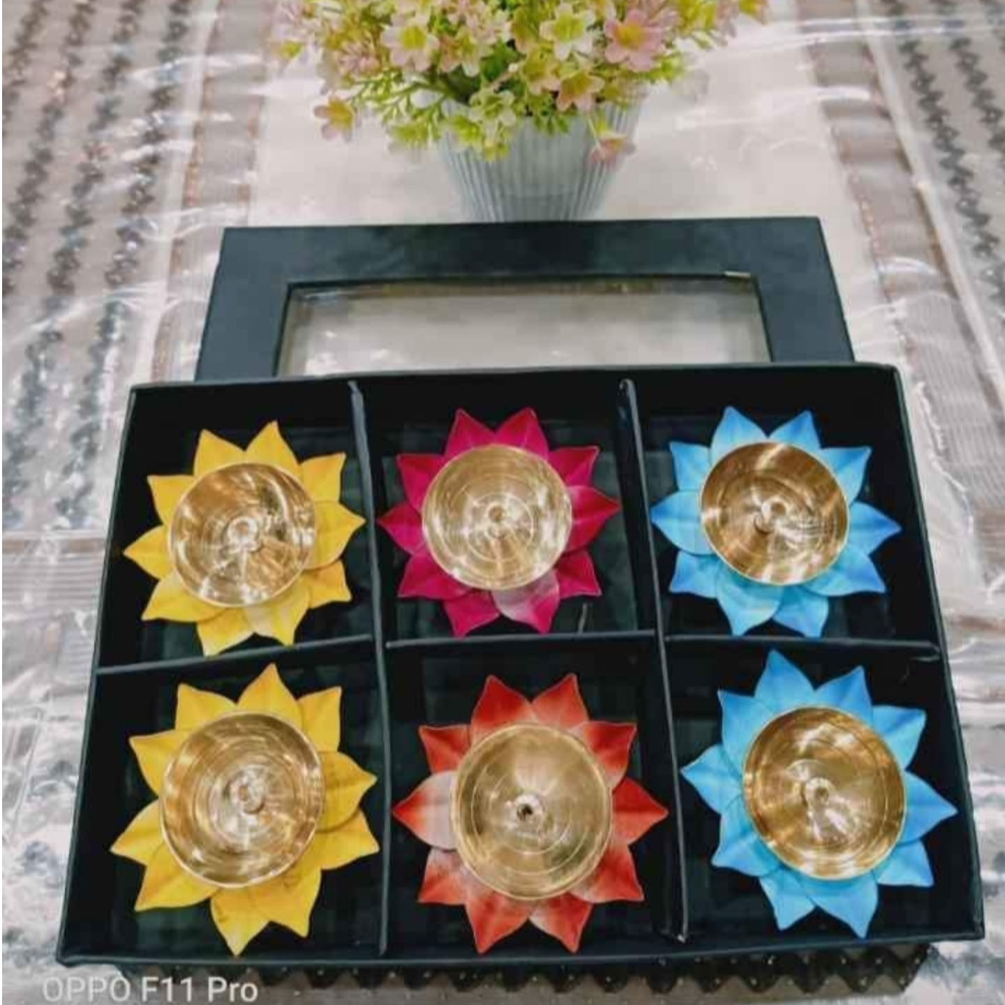 Brass Deepak with Coloured Iron Leafs 3 inch - Set of 6 Diya in Gift Box Z478 C