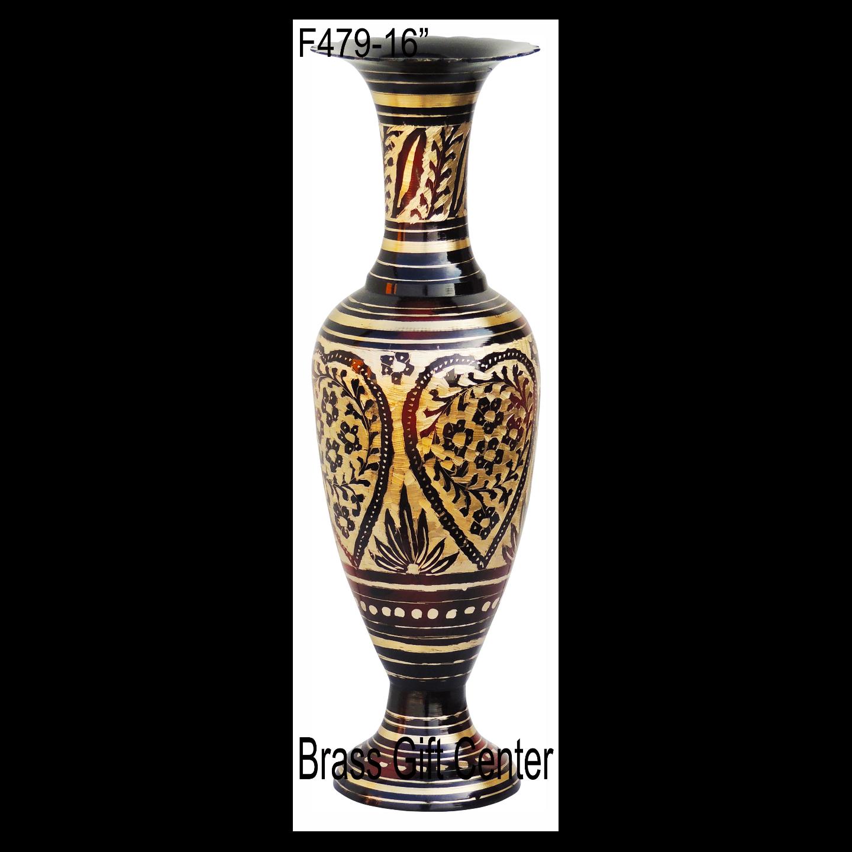 Brass Coloured Flower Vase with handwork - 5516 Inch  F479