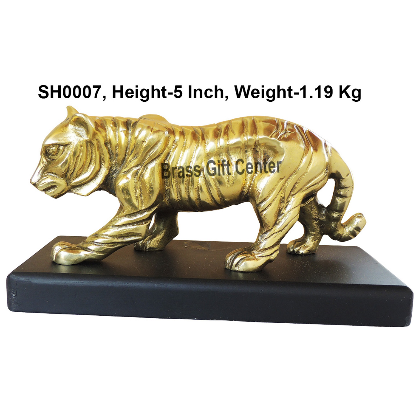 Metal Tiger Statue in Brass Finish with Wooden Base - 5 inch (SH0007)