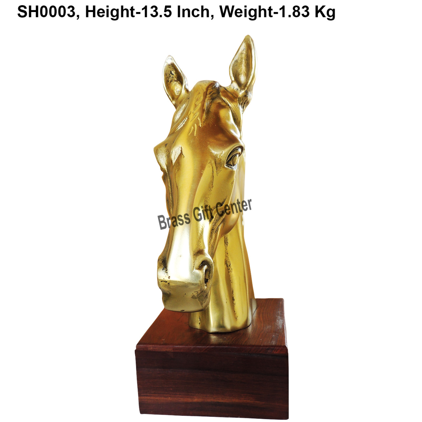 Metal Horse Statue In Brass Finish With Wooden Base - 13.5 Inch  (SH0003)