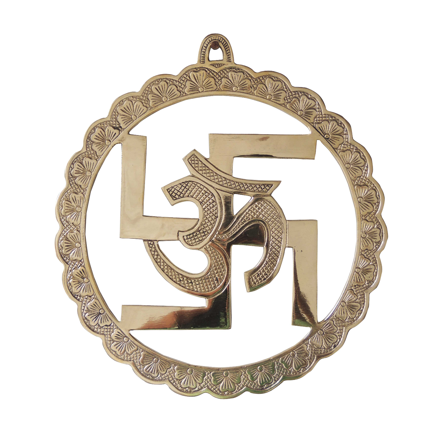 Brass Wall Hanging Swastic And Om - 9.79.7 Inch  F592 F