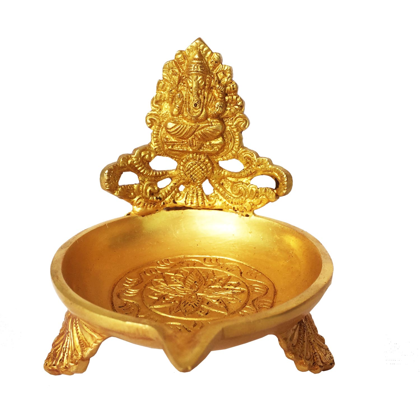 Brass Brass Table Diya - Metal Religious Temple worship deepak - (BS1160 G)