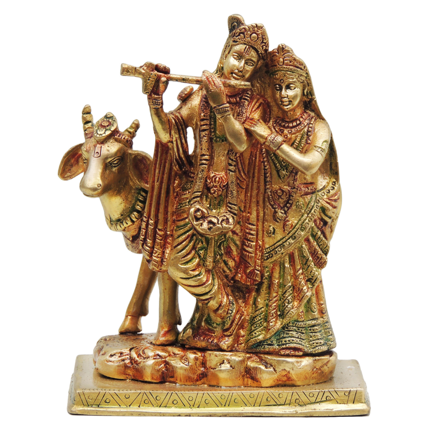 Brass Radha Krishna with Cow Staute Idol Murti in Multicolour lacquer finish - 5.5*4*7.5Inch  (BS400)
