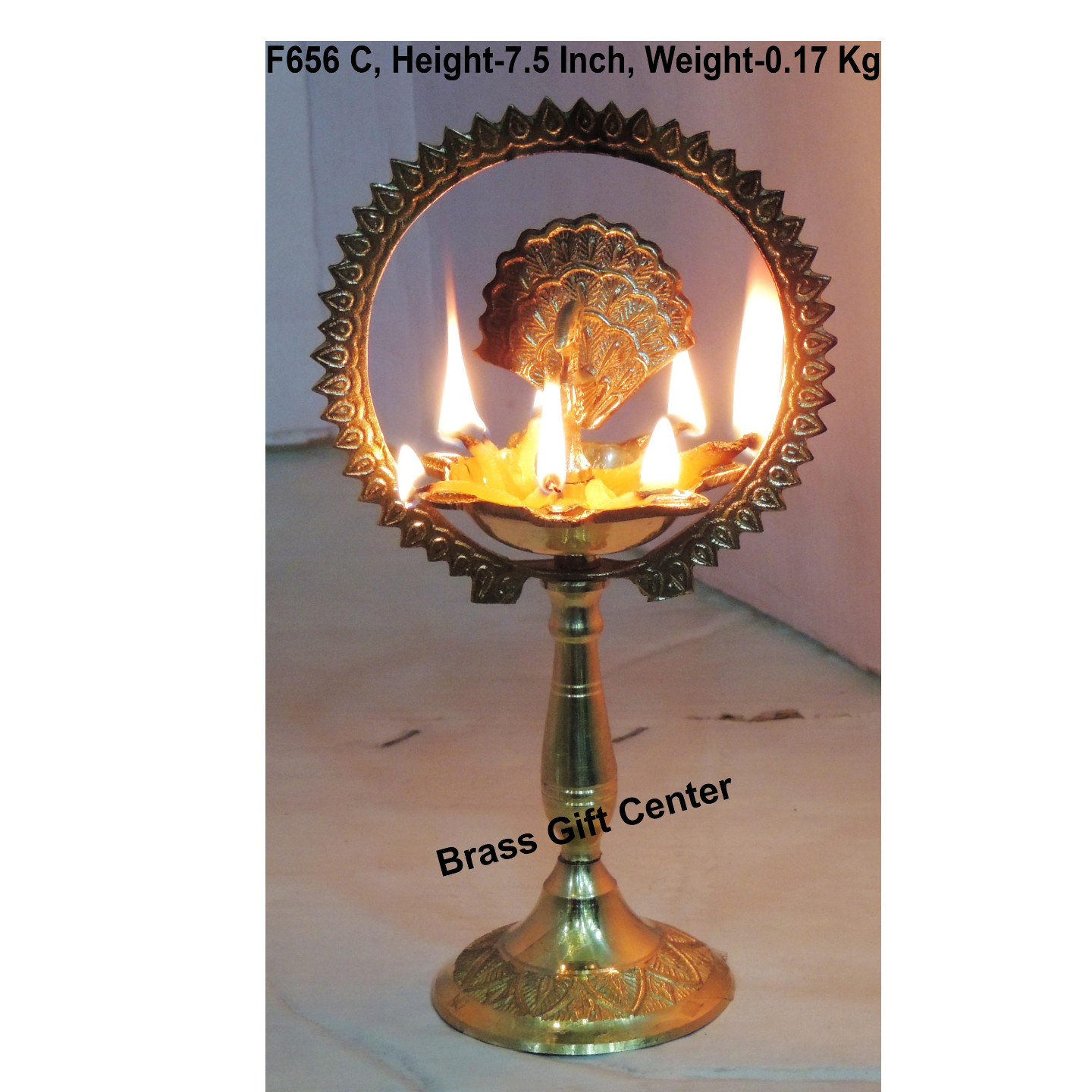 Brass Peacock More Diya Deepak 170 GM - 4x2.5x7.5 Inch F656 C