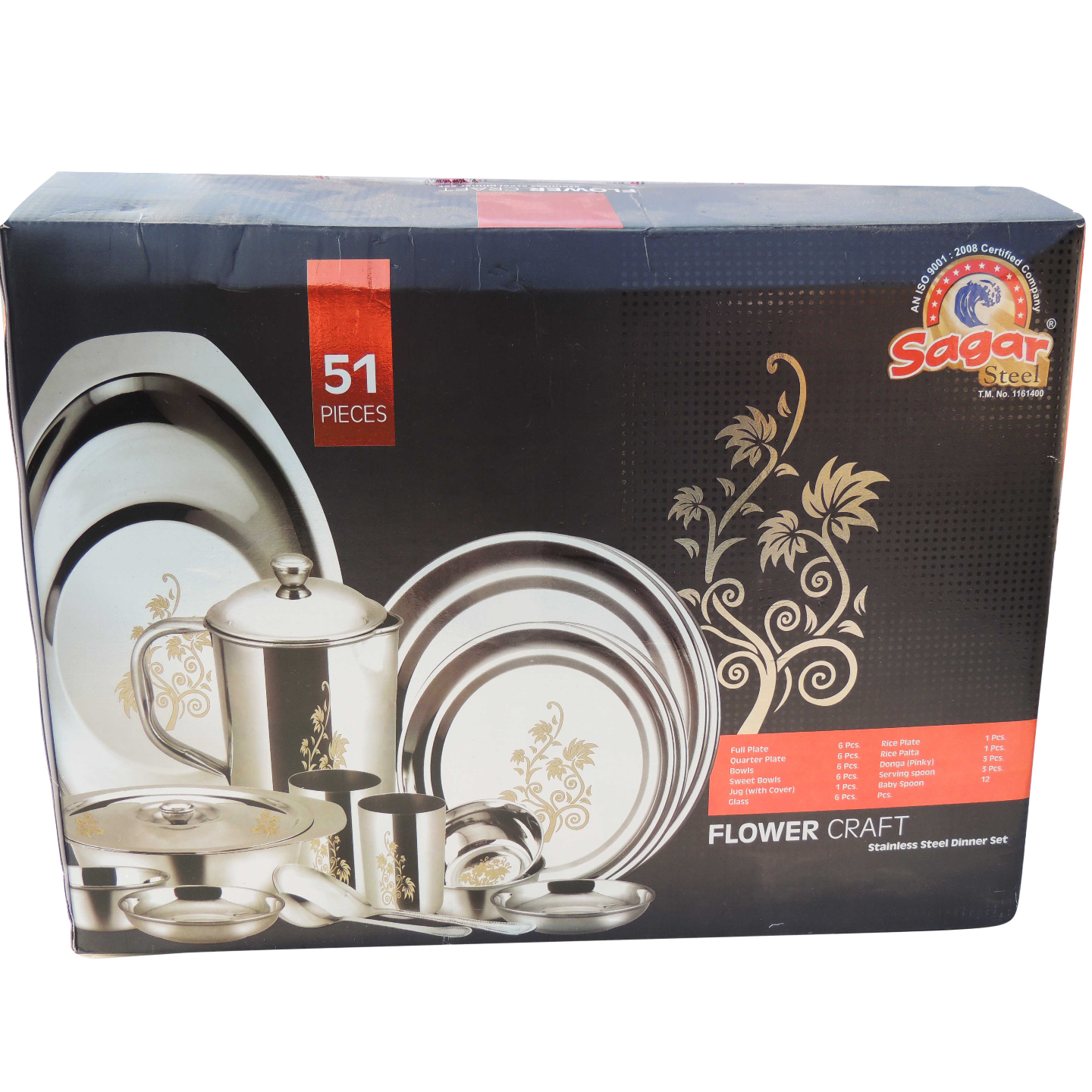 Steel Dinner Set Life Time 51 pcs - 6.8 kg with box (S063 A)