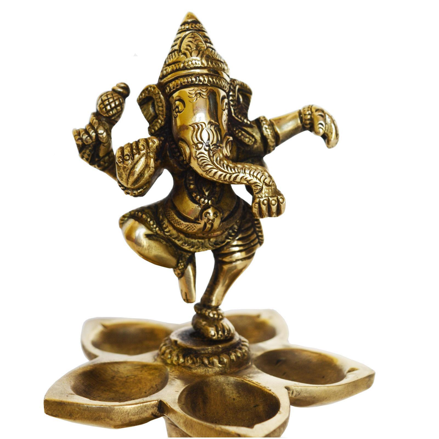 Dancing Ganesha Brass Oil Lamp Decorative Metal Lamp Statue for Home Decor - 6 Inch (BS1169 A)