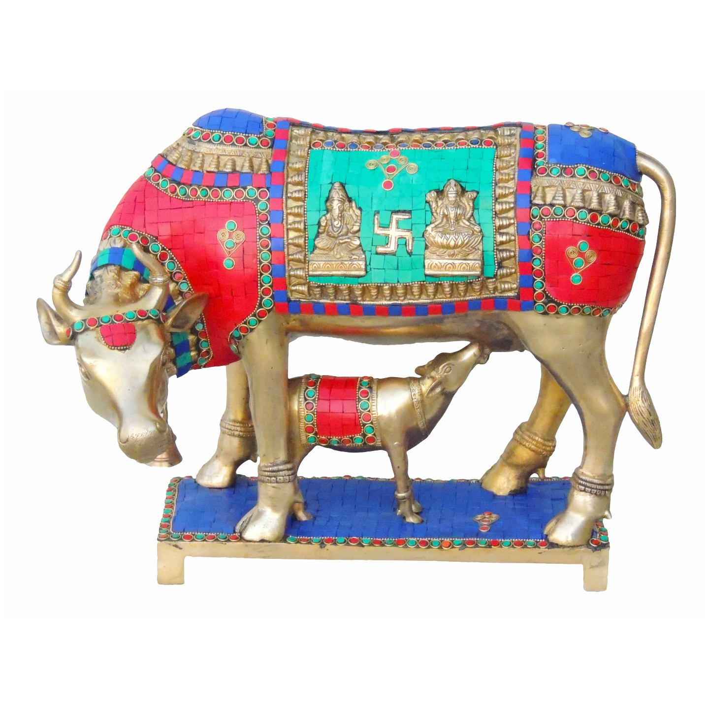 Brass Cow With Calf Gaye Bacdha with Turquoise Coral stone work- 17.5*10.5*13 Inch  (BS804 B)