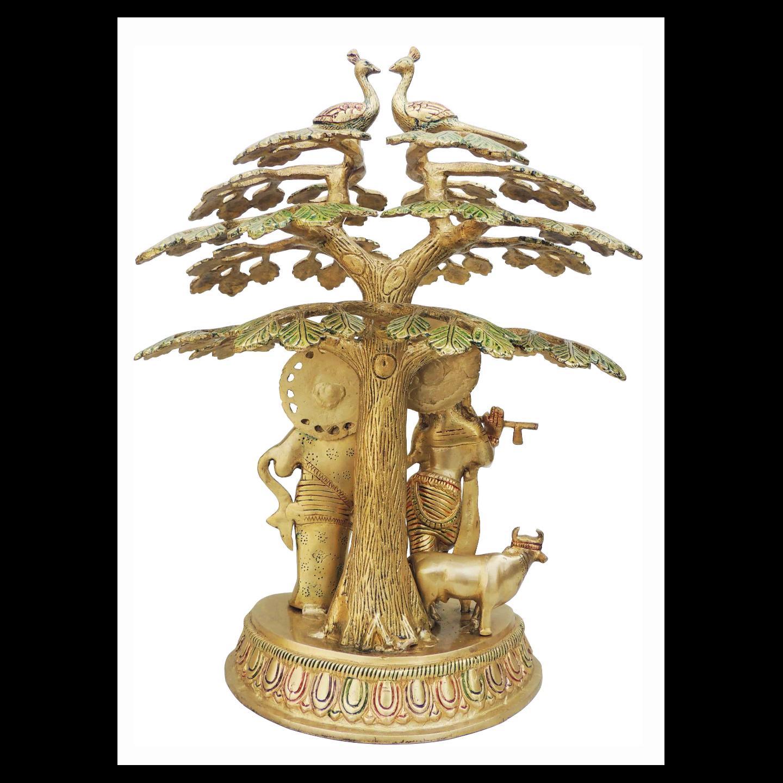 Brass Radha Krishna Under Tree Staute Idol Murti in Multicolour lacquer finish - 11.5*8.5*16.4 Inch  (BS828 B)