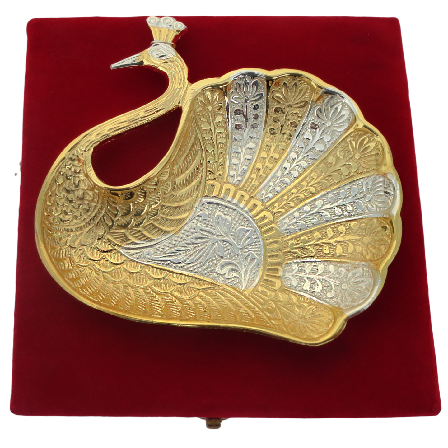 Brass Peacock Shape Bowl With Brass & Silver Finish - 7 Inch (B024)