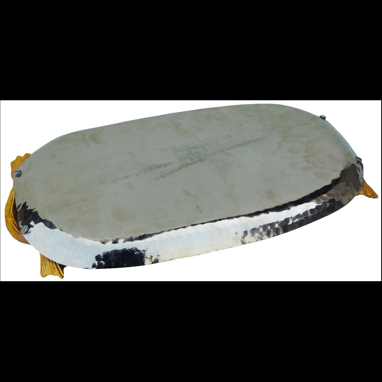Aluminium Metal Leaf Shape Tray Serving Platter Hammered Nickel plating - 16*9 Inch  (A3407/15)