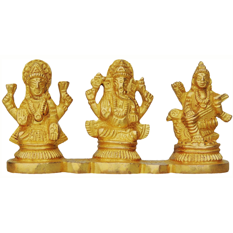 Brass Laxmi Ganesh Saraswati Statue Murti Idol - 412 Inch  BS644