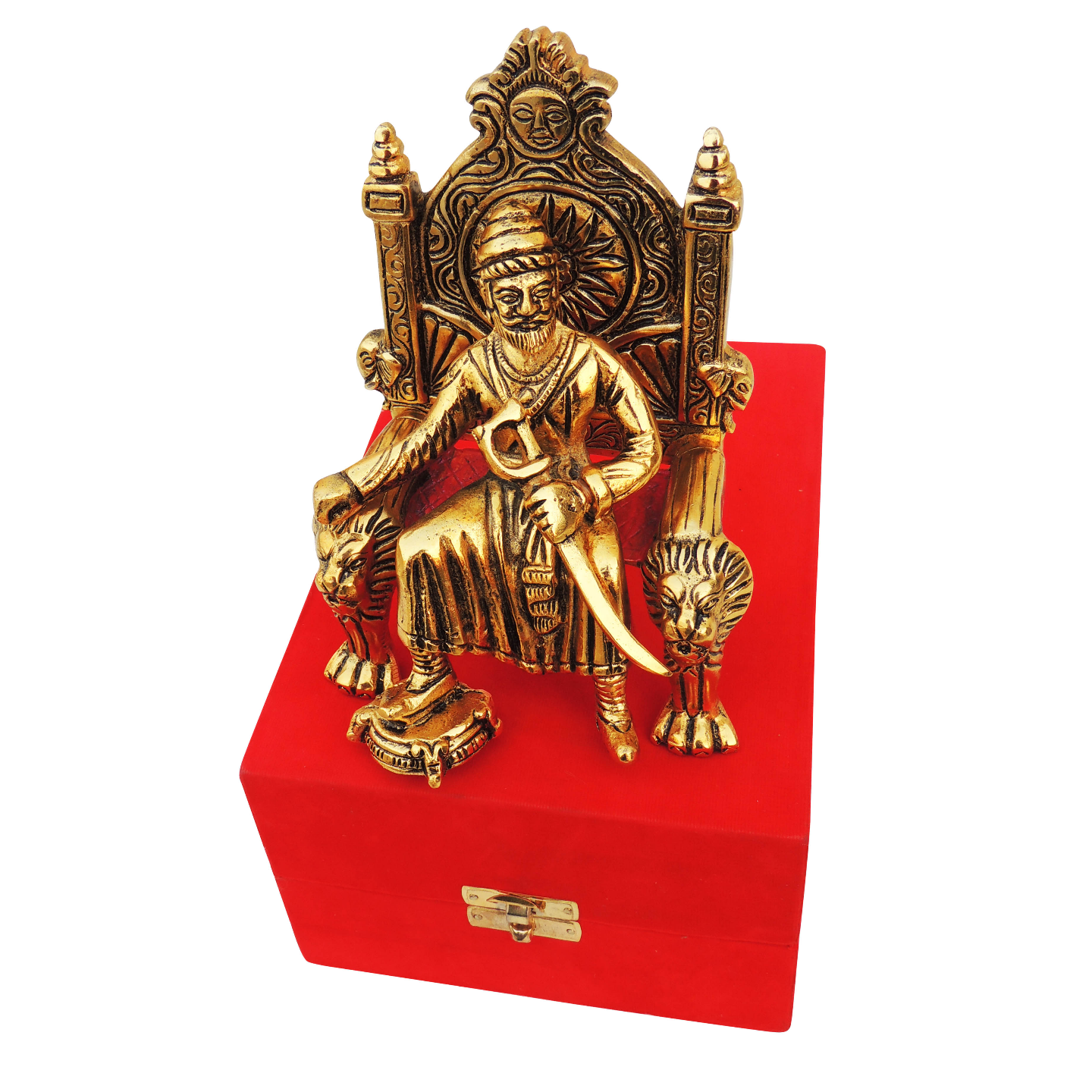 Showpiece Shivaji With Valvet Box In Gold Finish - 6.3 Inch (AS368 G)
