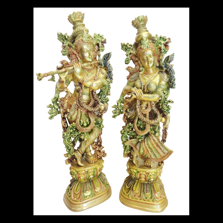 Brass Radha Krishna Staute Idol Murti in Multicolour lacquer finish- 8.5629 Inch  BS073