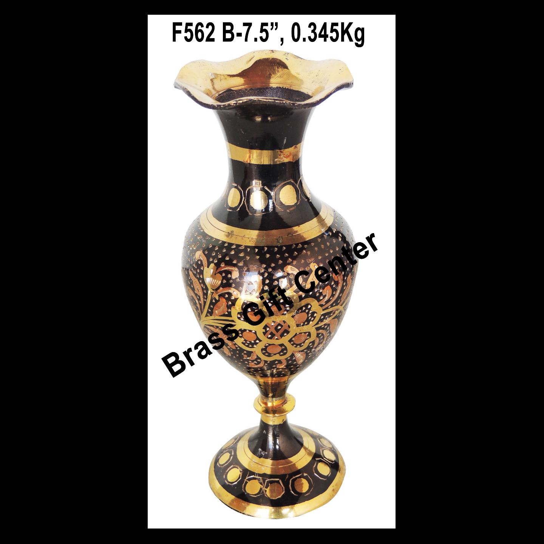 Brass Coloured Flower Vase with handwork - 2.5*2.5*7.5 inch  (F562 B)
