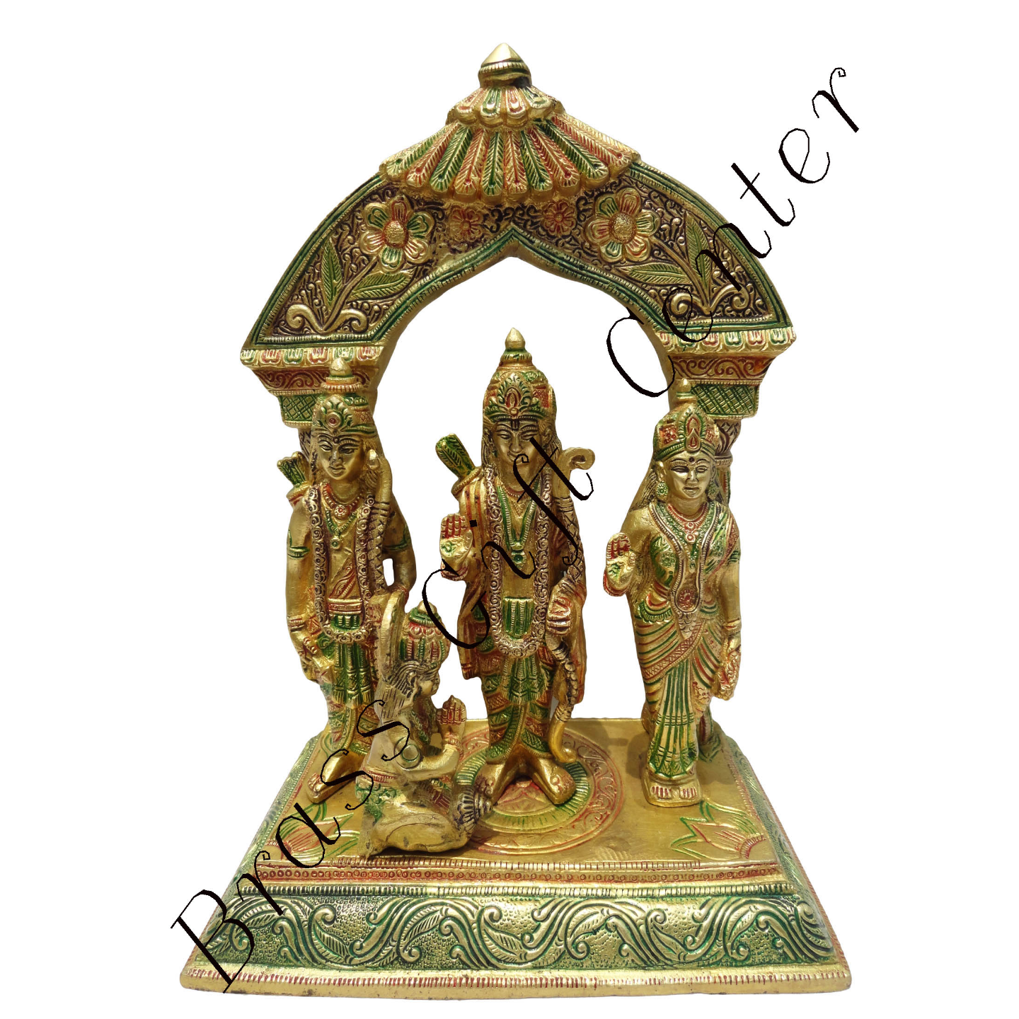 Brass Ram Dharbar Statue Idol Murti Multicolour  lacquer finish - 9*5*12 Inch  (BS131)