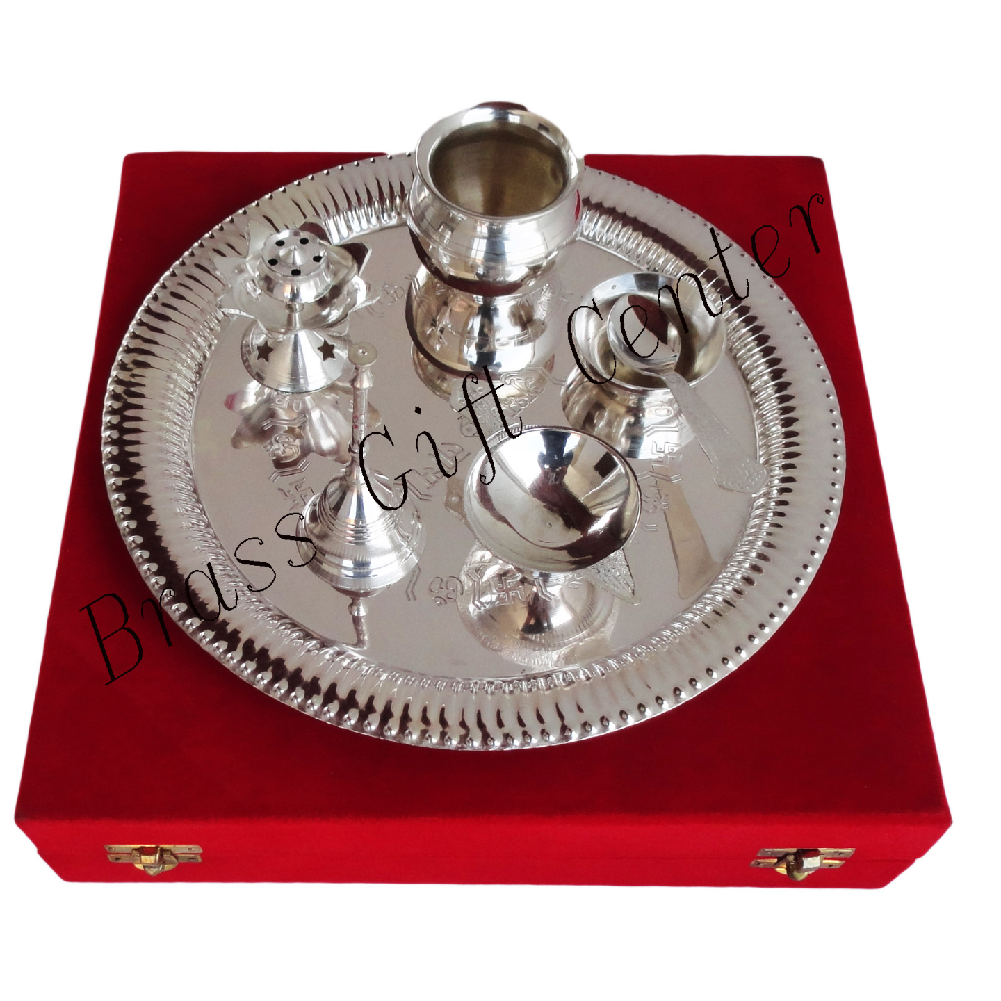 Brass Puja Thali with Deepak, Roli and Rice holder and Agarbatti Stand Brass Pooja & Thali Set - 11.5 Inch dia with Silver Plating packed in Red Velvet Box