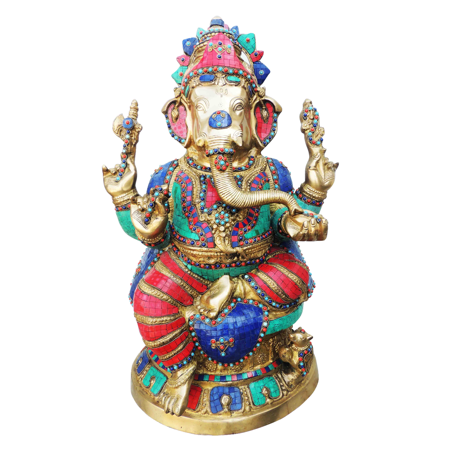 Brass Ganesh Idol Murti Statue with Turquoise  Coral stone work - 27.2 Inch  (BS609)