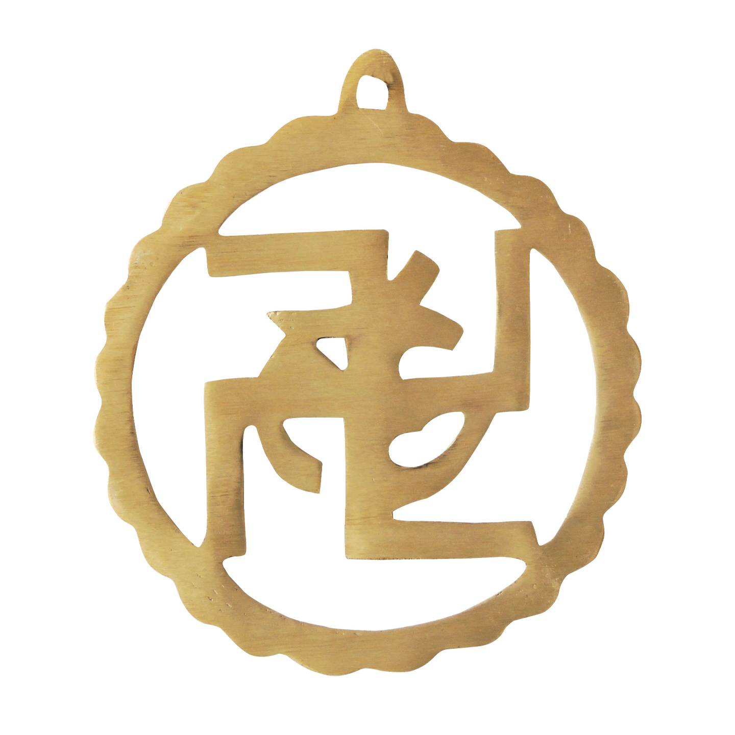 Brass Wall Hanging Swastic And Om - 5.25.2 Inch  F592 B
