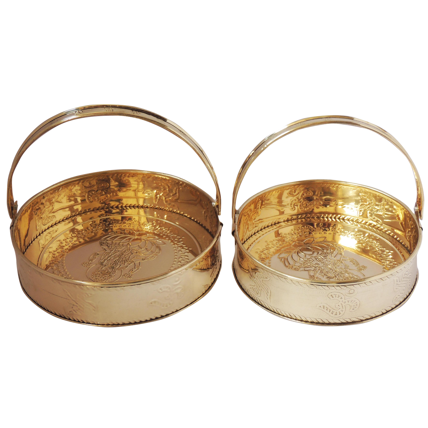 Brass Pooja Flower Basket Set of 2 - Small and Big Fool Dhalia (Z296 A)
