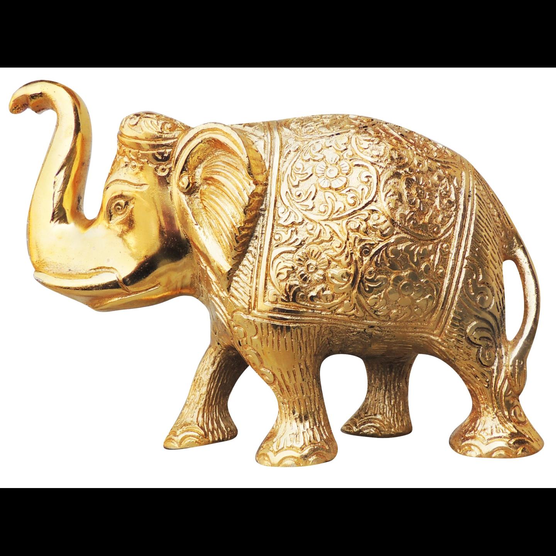 Metallic Elephant Decorative Showpiece In Gold Finish - 735 Inch AS240 C