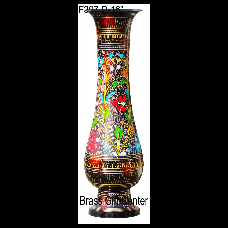 Brass Coloured Flower Vase with handwork - 4.54.516 Inch  F397 D