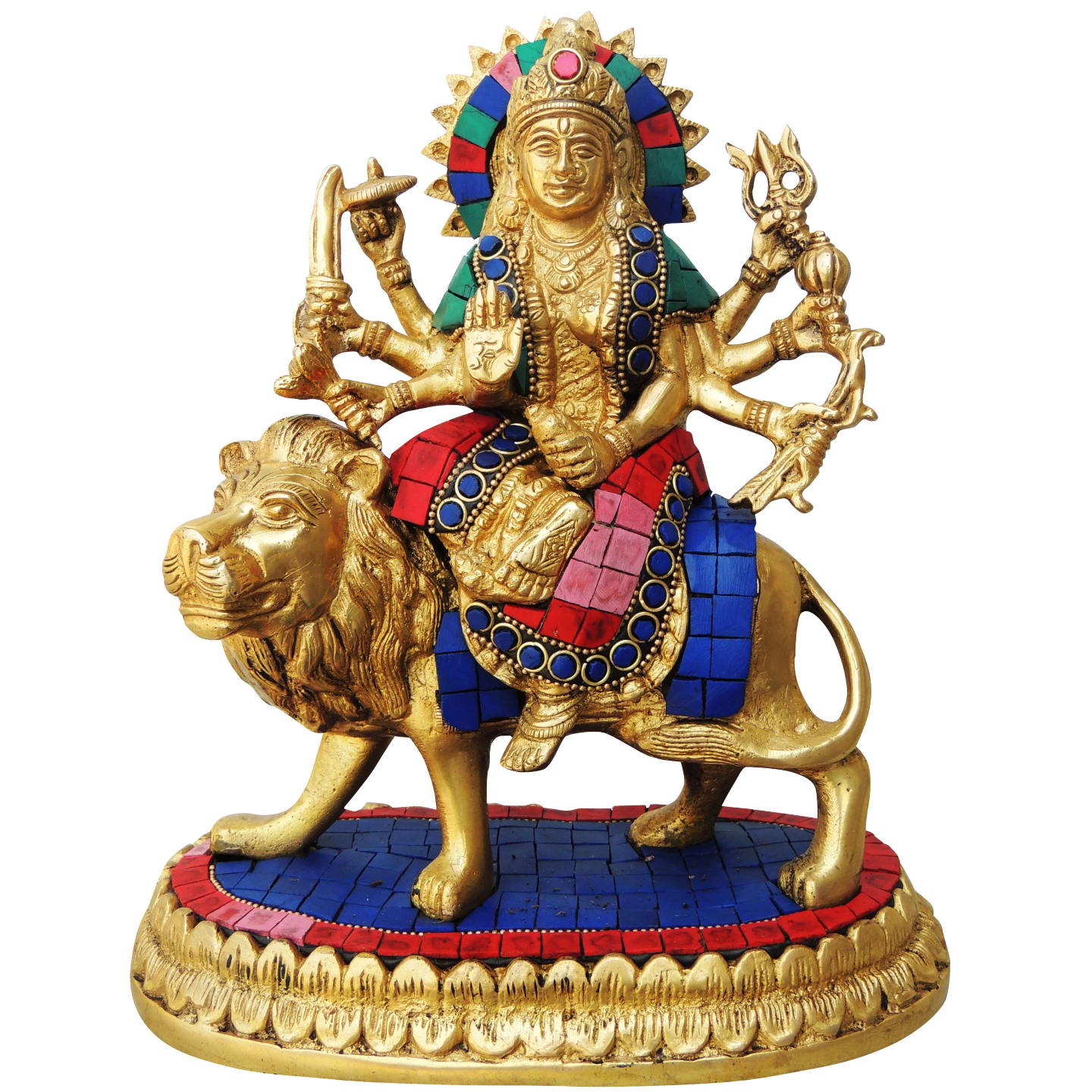 Brass Durga Murti Statue idol with Turquoise Coral stone work - 84.59 inch BS440