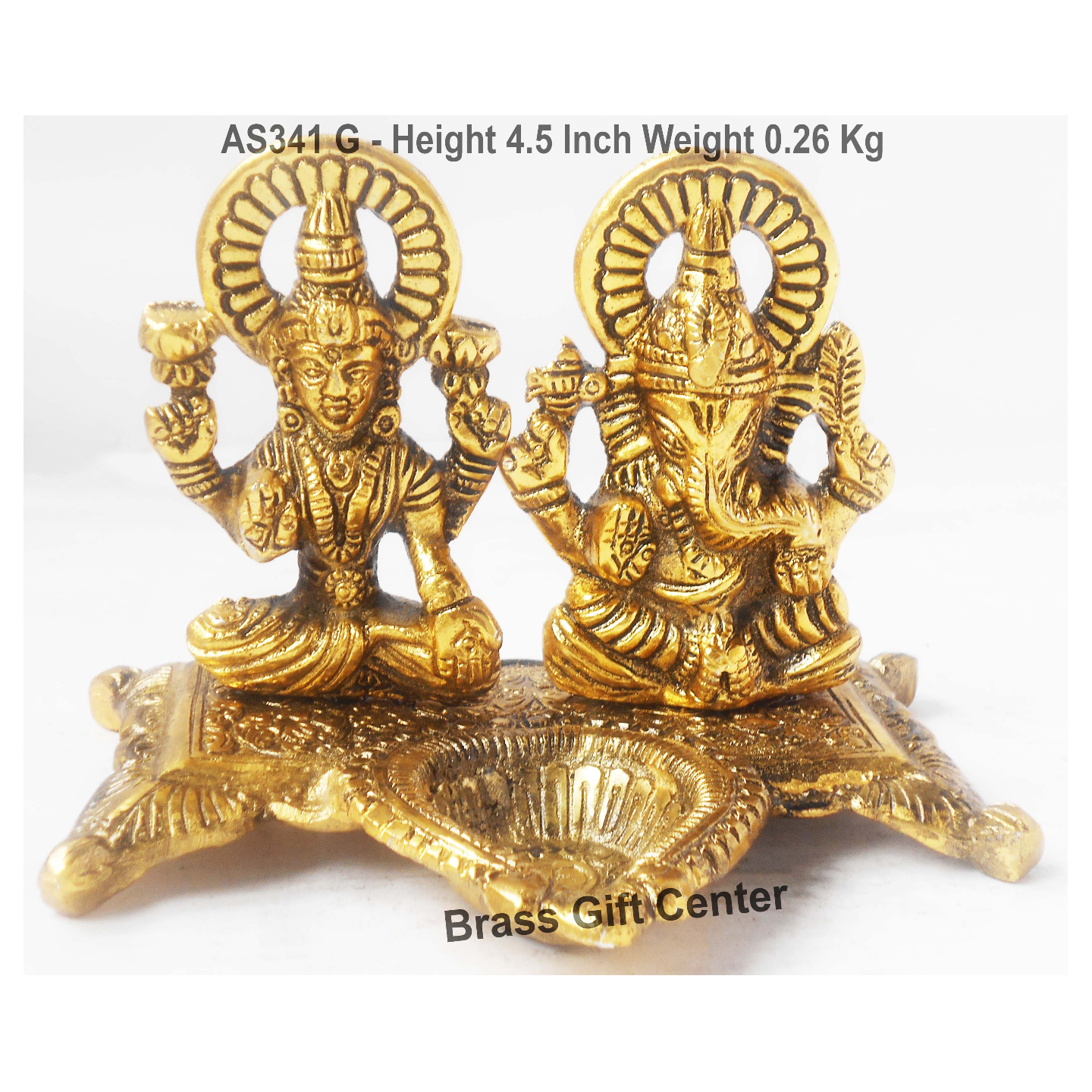 Laxmi Ganesh Deepak in Gold Antiqie finish - 5x4.5x4.5 inch AS341 G