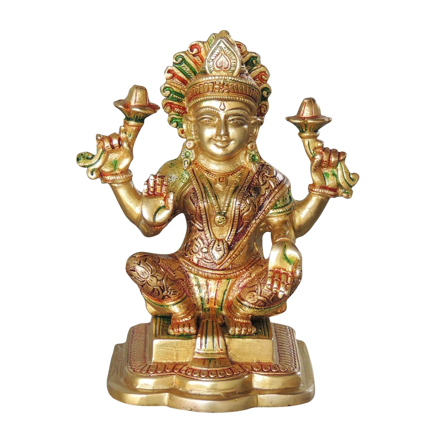Brass Laxmi Statue Murti Idol in MultiColour Lacuquer Finish - 7.5 inch (BS1063 L)