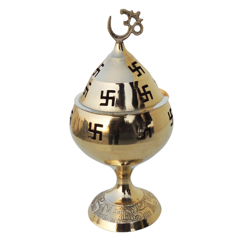 Brass Om Pakija Deepak - 4.5 Inch (Z164 F)