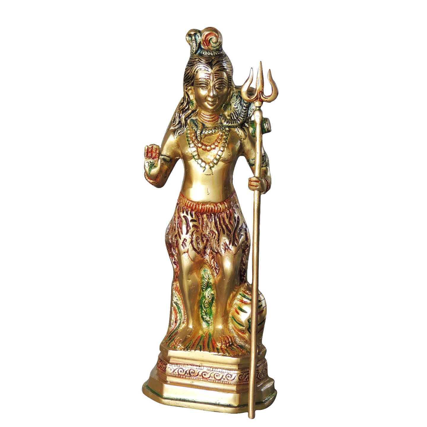 Brass Shivji Statue Murti Idol in Mulitcolour Lacquer Finish 2.5 kg - 4.2x3.2x12.4 Inch  (BS1066 S)