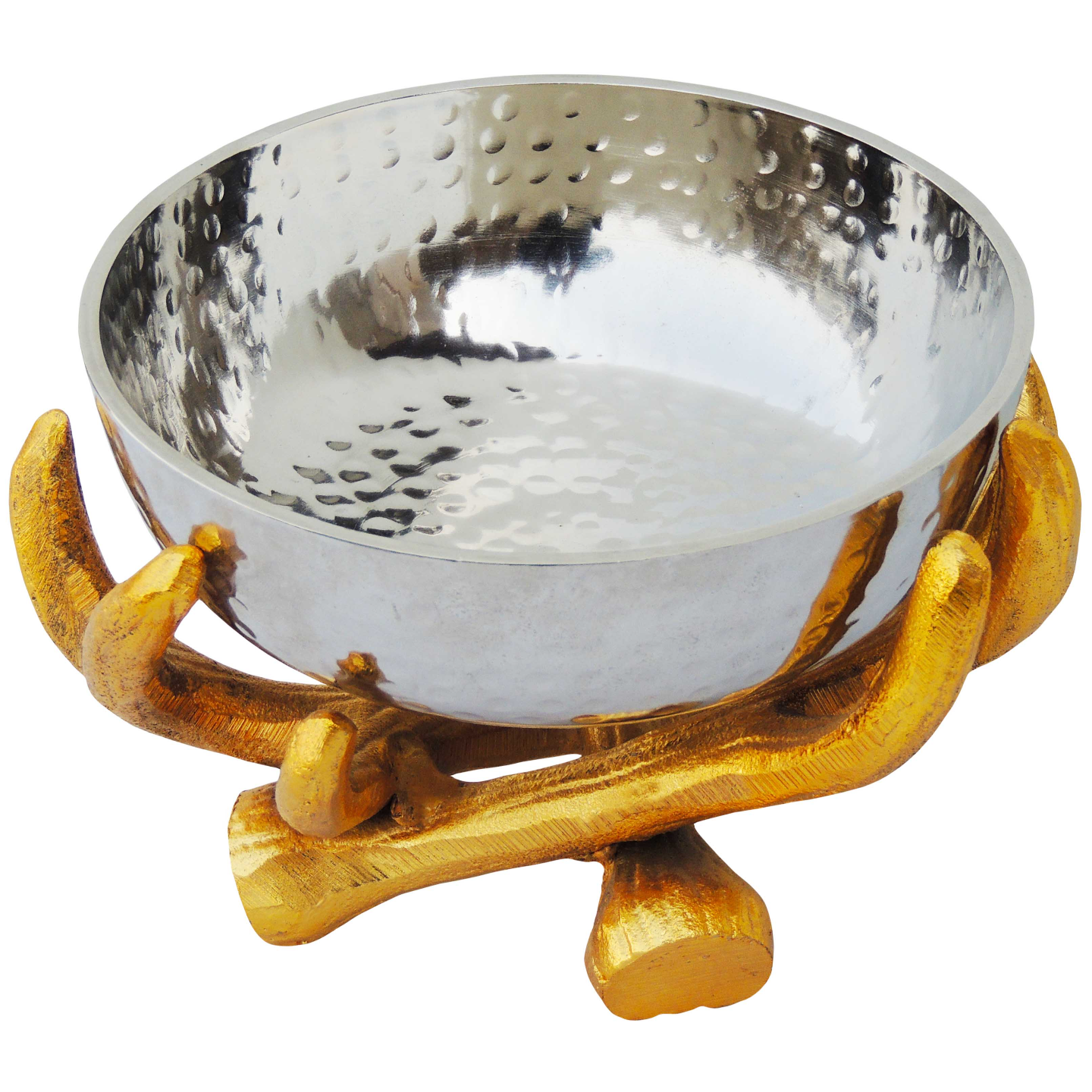 Aluminium  Bowlwith Stand In Gold And Nickel Finish -7*7 Inch  (A3192/8)