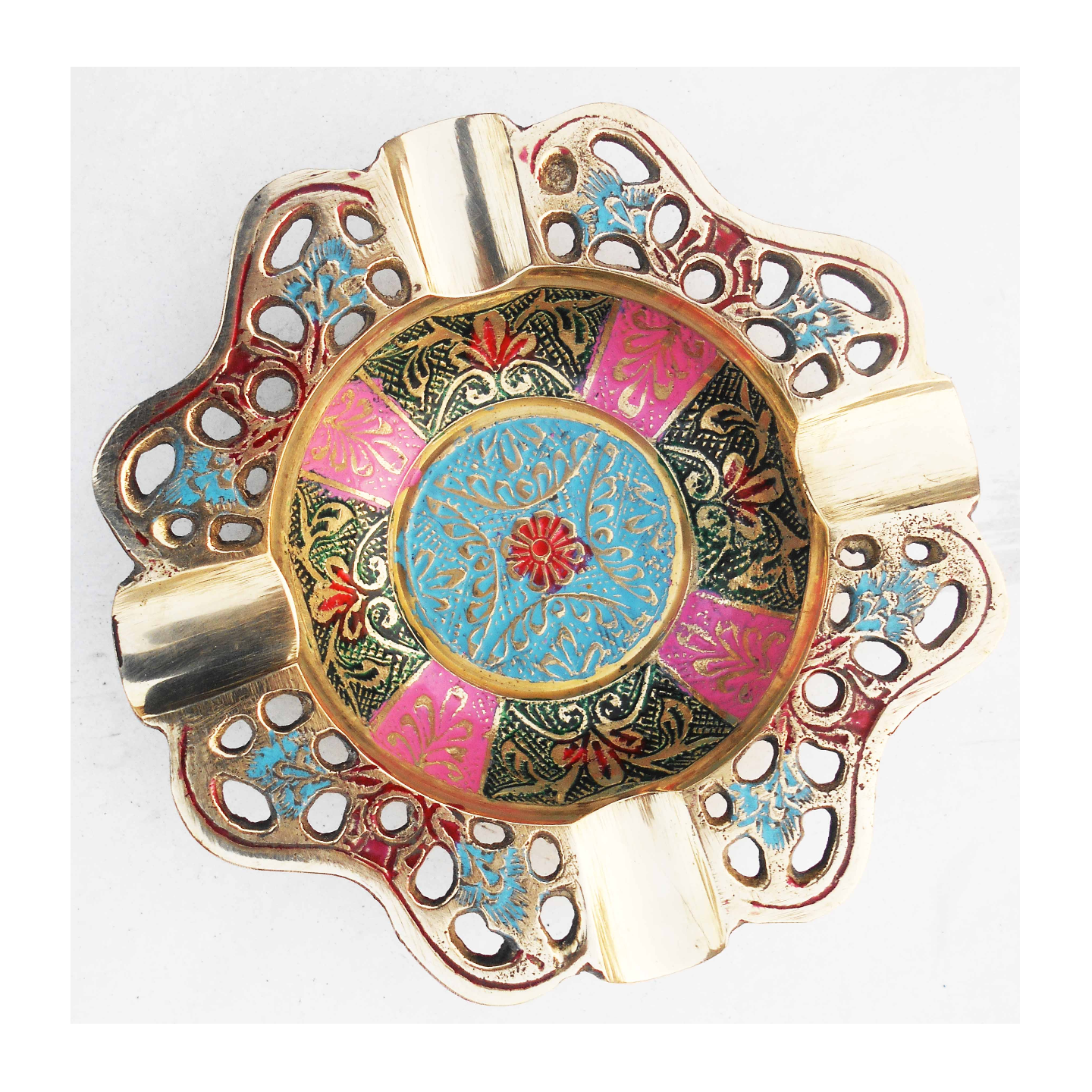Brass Ash Tray With Multicloured Finsih - 5.5 Inch Z382 A