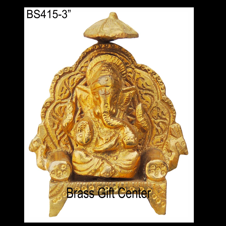 Brass Ganesh Statue Murti Idol - 2.5*1*3 Inch  (BS415)