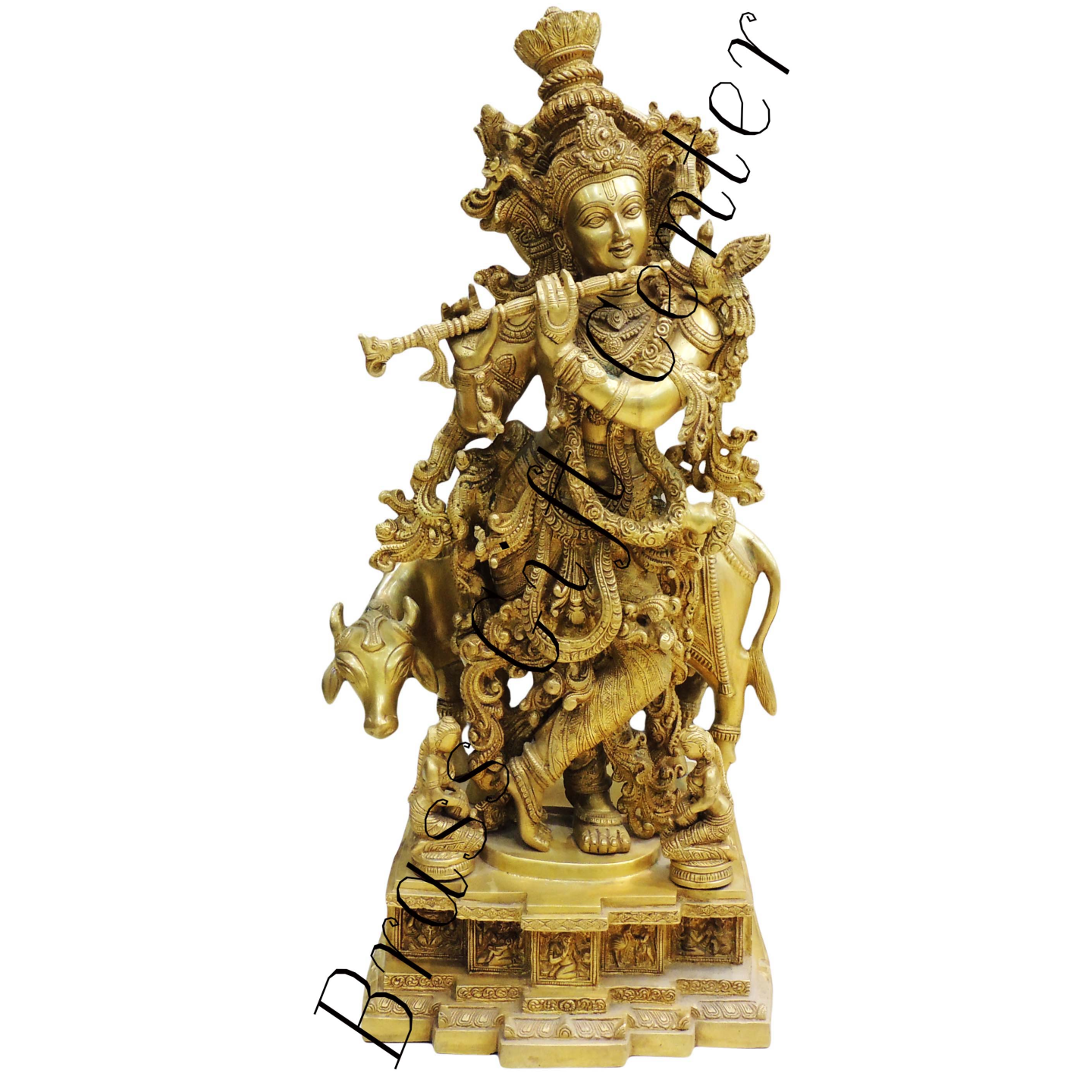 Brass Krishna With Cow StatueMurtiIdol - 28 inch BS300