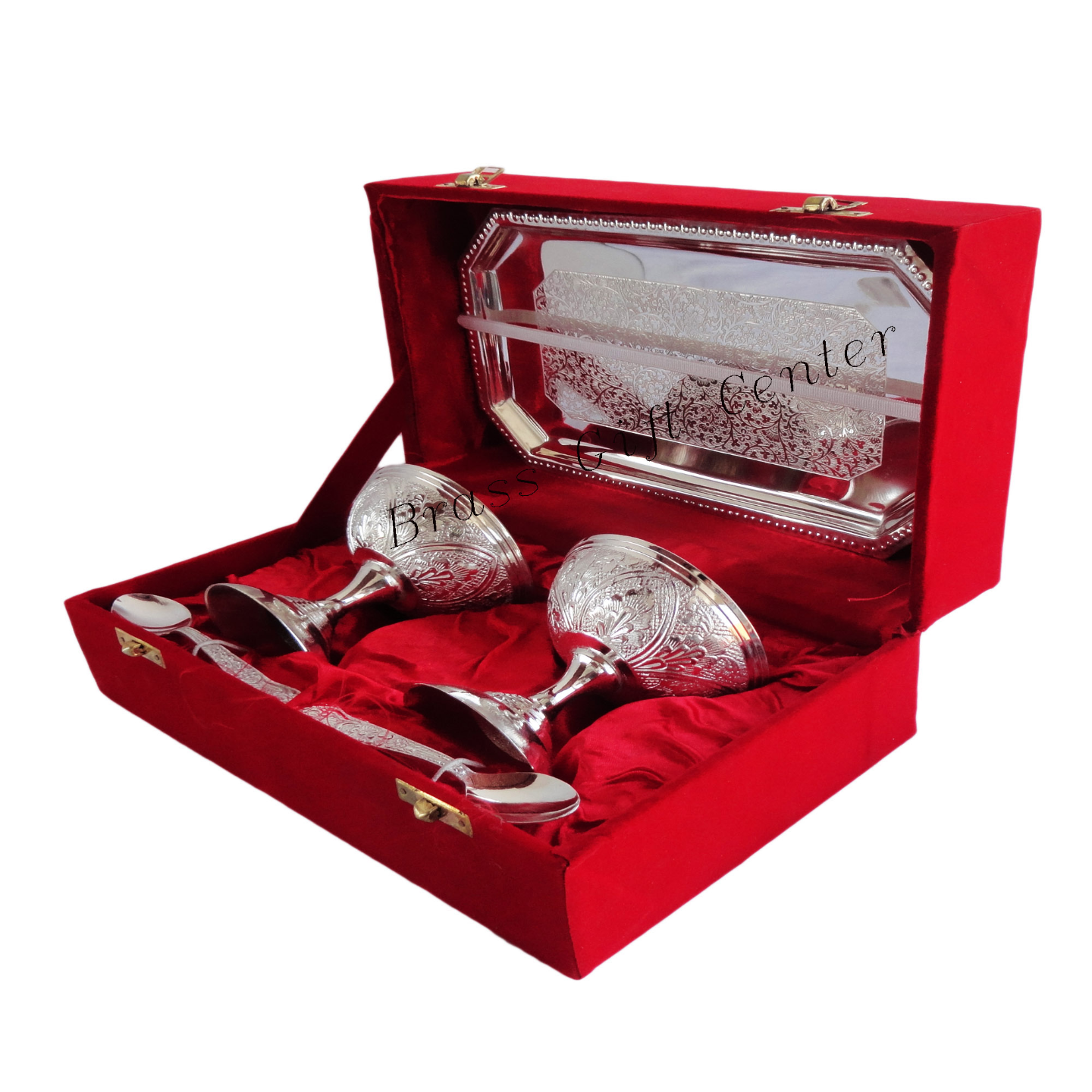 Brass Ice Cream Bowl Set In Silver Pating Packed In Red Velvet Box - 3.53.53.5 Inch  B091