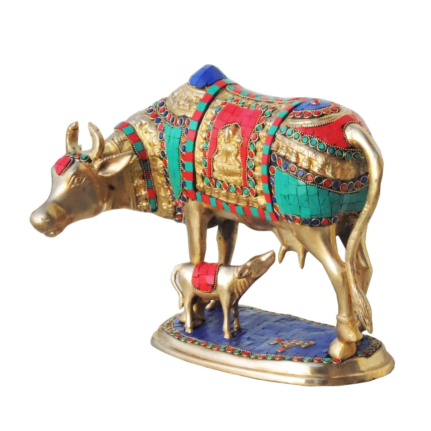 Brass Cow With Calf Gaye Bacdha with Turquoise Coral stone work- 14810 Inch  BS804 A