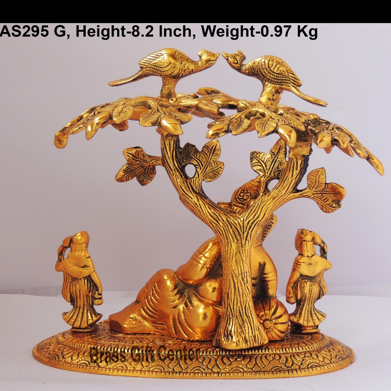 Ganesh Sleeping under tree Statue Murti Idol In Gold Antique Finish - 8.5x5.5x8.2 Inch