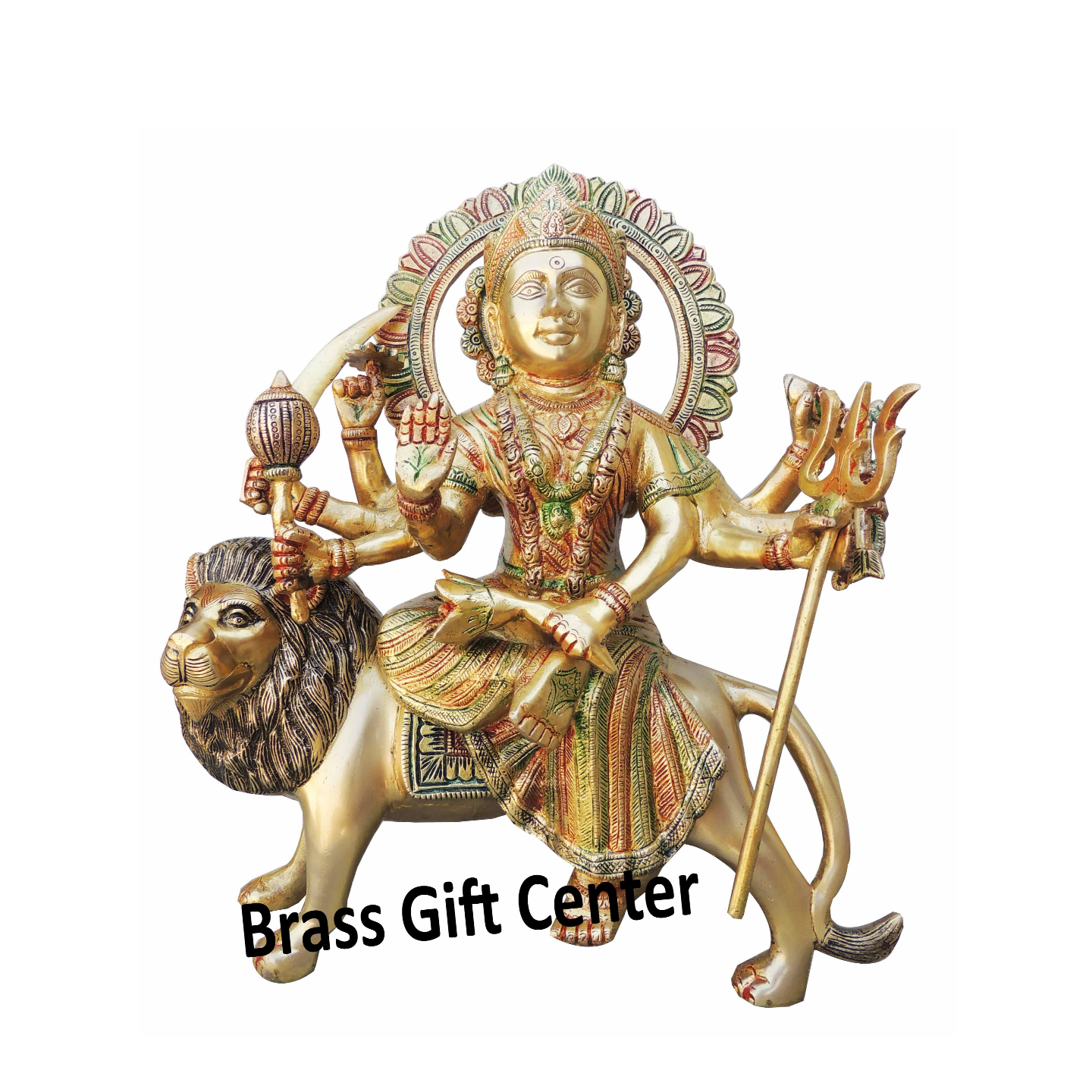 Brass Durgaji Murti Statue idol with Multicolour Lacquer finish - 12.7514.5 inch  BS937 E