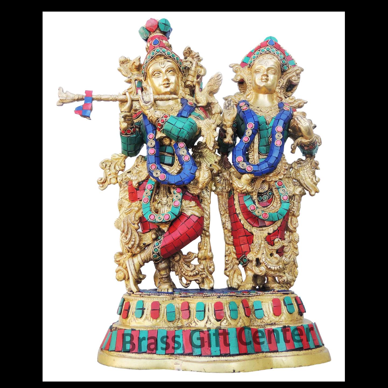 Brass Radha Krishna Staute Idol Murti With Turquoise Coral Stone Work - 12.75.417 Inch  BS939 B