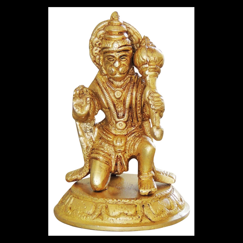Brass Hanumanji Sitting Murti Statue Iodl - 2.5*2.2*4 inch (BS1032 B)