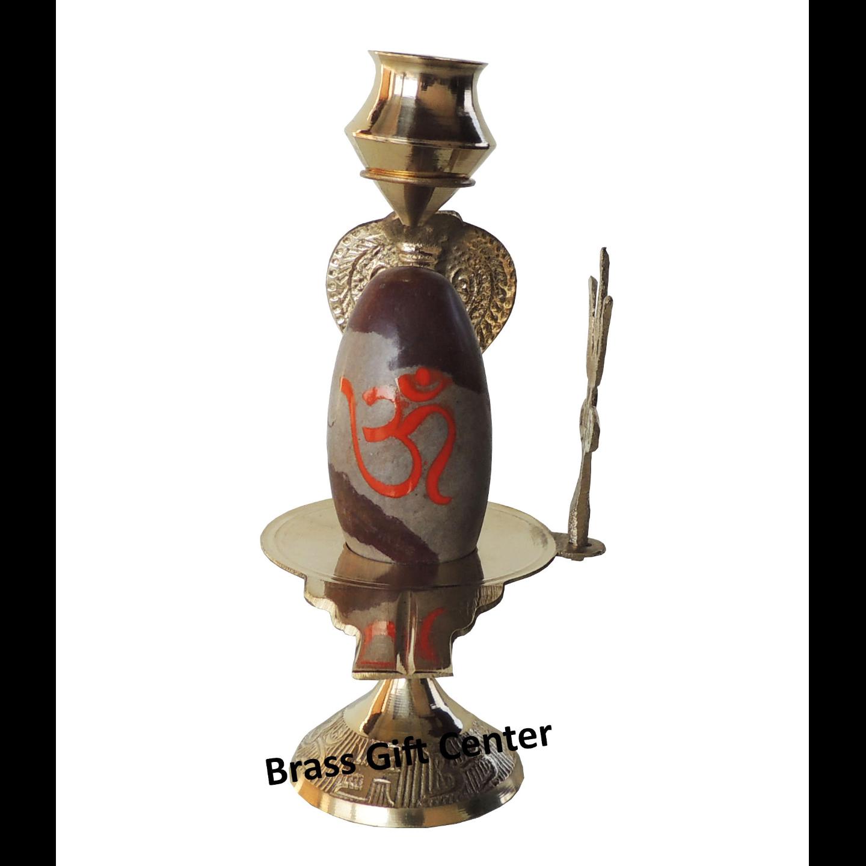 Brass Temple Shivling - 6.7 Inch Z464 F