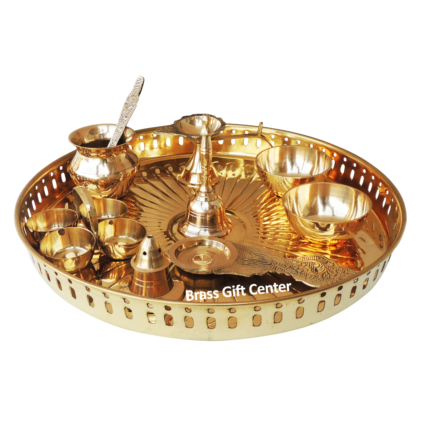 Brass Pooja Thali Set With Multiple Items - 11 Inch Z476 D